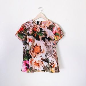 Ted Baker London Floral Cap Sleeve Blouse